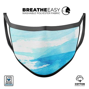 Abstract Blue Strokes - Made in USA Mouth Cover Unisex Anti-Dust Cotton Blend Reusable & Washable Face Mask with Adjustable Sizing for Adult or Child