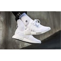 ADIDAS NMD Knit Shoes Pure White Sports Shoes Sneakers For Women Men
