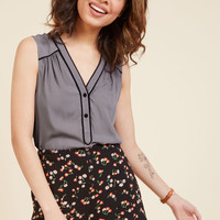 Cafe Au Soleil Sleeveless Top in Charcoal | Mod Retro Vintage Short Sleeve Shirts | ModCloth.com