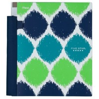 Five Star Advance Spiral Notebook, 2 Subject, 120 College-Ruled sheets, 11 x 8.5 Inch Sheet Size, Blue and Green Blotches (72216)