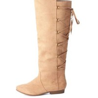 Lace-Up Back Knee-High Flat Boots by Charlotte Russe