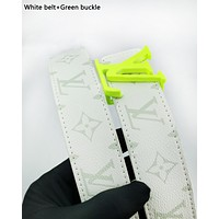 LV hot selling printed two-sided color belt fashion casual belt for men and women White belt+Green buckle