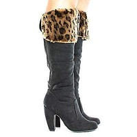 Mozza28 By Bamboo, Knee High Animal Print Faux Fur Shaft High Heel Boots