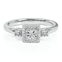 Diamond Promise Ring in Sterling Silver