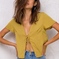 Miss Moss Tie Front Blouse