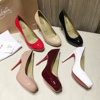 CL Christian Louboutin Women Trending Leather Black High Heel flat Shoes boots Best Quality