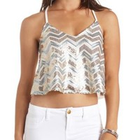 Sequin Chevron Swing Crop Top by Charlotte Russe - Ivory Combo