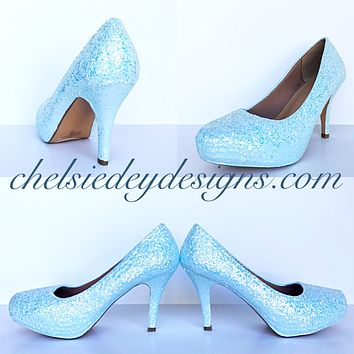 Light Blue Glitter High Heels, Cinderella Blue Low Prom Pumps