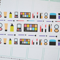 Set of 45 Makeup Stickers, Planner Stickers perfect for your Erin Condren Life Planner, Printed + Kiss Cut