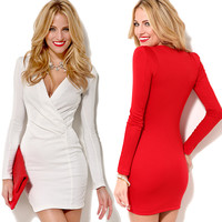 V-Neck Bodycon Wrap Long Sleeve Mini Dress