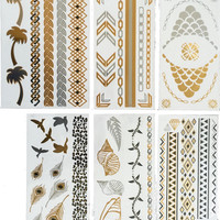 Metallic Gold Silver Temporary Flash Tattoos 6 Sheets