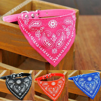 Adjustable Pet Dog Puppy Cat Triangle Neck Scarf Bandana PU Collar Neckerchief = 1929703812