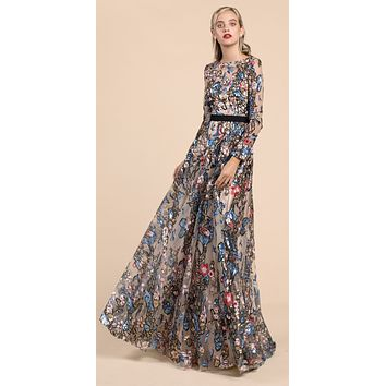 Andrea & Leo A0138 Matisse Lace Long Sleeve Gown Birds and Flowers