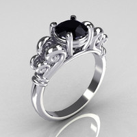 Modern Antique 14K White Gold 1.0 Carat Round Black Diamond Designer Solitaire Ring R141-14WGBD