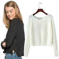 Knitted Crop Pullover Sweater