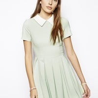 Lavish Alice Box Pleated Skater Dress with Contrast Collar