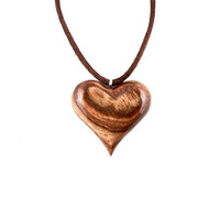 Wood Heart Necklace, Wooden Heart Necklace, Heart Pendant Necklace, 5th Anniversary Gift, Wood Necklace, Wood Jewelry, Heart Jewelry