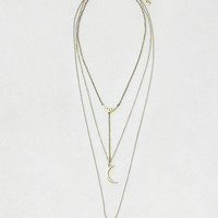 AEO Moon Tiered Necklace , Gold | American Eagle Outfitters