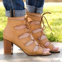 NEW Womens High Heels Sandals Lace Up Open Toe Cutout Ankle Booties Shoes