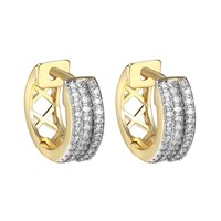 14k Gold Finish Hoop Huggie Earrings 13mm Simulated Diamonds Mens Ladies Classy