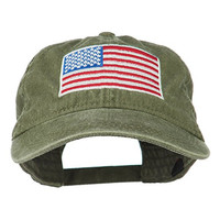 American Flag Embroidered Washed Cap - Olive Green OSFM