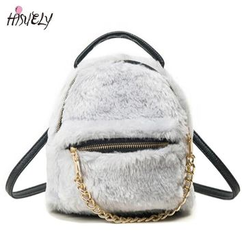 2017 New Fashion Cute Winter Soft Rabbit Funny Fur Backpack Zipper School Bags For Teenager Girls With Gold Chain Children Plush