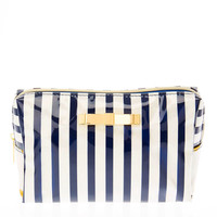 Glitter Navy & Gold Stripe Print Cosmetic Bag