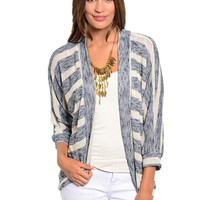 3/4 Sleeve Striped Cocoon Knit Cardigan