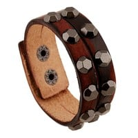 Stylish New Arrival Awesome Gift Hot Sale Shiny Great Deal Punk Rivet Leather Bangle Vintage Alloy Men Ring Bracelet [6526708355]
