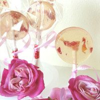 12 Paradise Rose Passion Lollipops-Natural-Vegan-Hawaii Made-Hard Candy Suckers-Herbal Candy-Luau-Romantic Wedding Favors- Party Favors