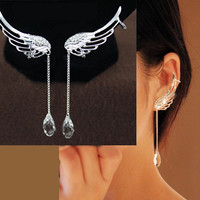 Angel's Wings Dangling Rhinestone Ear Cuffs (No Piercing)