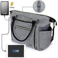 SMART Baby Bag with USB Port To Easily Charge Any Phone, Tablet, Rechargeable Breast Pump