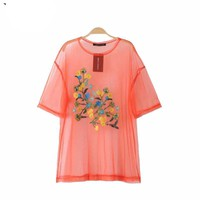 Sexy see through flower embroidery mesh shirts