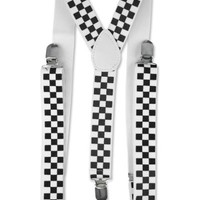 Black And White Checkered Suspenders