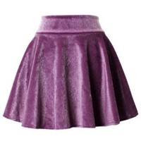 Fluffy Violet Velvet Skater Skirt - New Arrivals - Retro, Indie and Unique Fashion