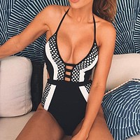 Sexy Brazilian Black And White  one piece Swimsuit