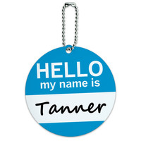 Tanner Hello My Name Is Round ID Card Luggage Tag