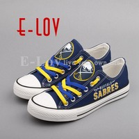 E-LOV Print NHL Buffalo Sabres Canvas Shoes Fashion Low Top Lace Casual Shoes Fans Gift Graffiti Woman Girl Shoes Big Size