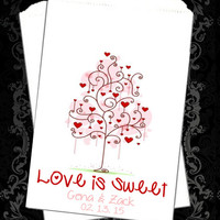 WB192 - Love is Sweet // Thank You Favors // Valentine Wedding // Heart Tree // Candy Buffet // Wedding Candy Bag // Popcorn Bag / Valentine