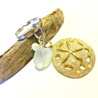 Classy Gold Sand Dollar Charm Keychain, Mothers Day Gift, Sea Glass Key Ring with Wire Wrapped Mother of Pearl, Classy Ocean Theme Gift