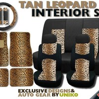 New and Exclusive Mesh Animal Print Interior Set Brown Leopard 15pc Seat Covers Front & Back Lowback, Back Bench, Steering Wheel & Seat Belt Covers - 4pc Floor Mats - Tan Safari