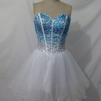 Short Sweetheart Beaded Sleeveless Ball Gown Homecoming Party Dress