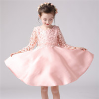2016 spring and summer high-end European girls dress baby girl embroidered princess dress kids girls cotton ribbons dress
