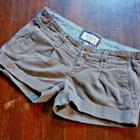 "ABERCROMBIE & FITCH size 00 29"" Cuff Stretch Cotton Casual Shorts"