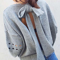 Solid Color Cut-Out Bow-Tie Back Sweater