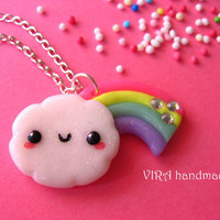 Kawaii cloud with rainbow necklace
