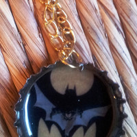 Batman Bottle Cap Necklace - geekery FREE Shipping USA DC Universe unisex mens necklace charm accessories upcycled beer top recycle holidays