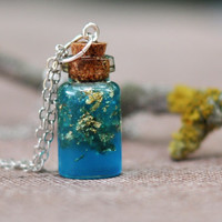 Miniature Bottle Pendant with Aqua Blue Resin and Gold Flakes - Resin Jewelry - Tiny Bottle Necklace
