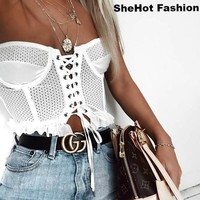 Women Sexy White Lace Up Crop Top