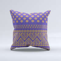 Tall Purple & Orange Vintage Pattern Ink-Fuzed Decorative Throw Pillow